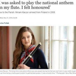 Polska flecistka grała irlandzki hymn na ceremonii przyznawania obywatelstwa