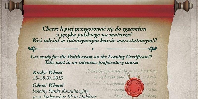 Intensywny kurs dla maturzystów zdających język polski na egzaminie Leaving Certificate