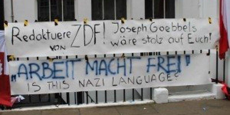 Protest w Londynie przed siedzibą niemieckiej telewizji