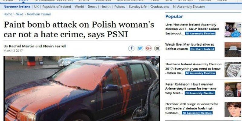Auto Polki oblane farbą
