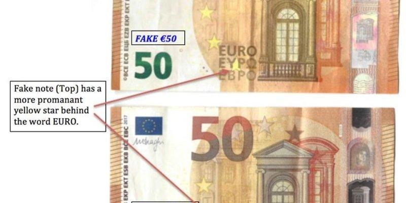 Fałszywe banknoty o nominale 50 euro
