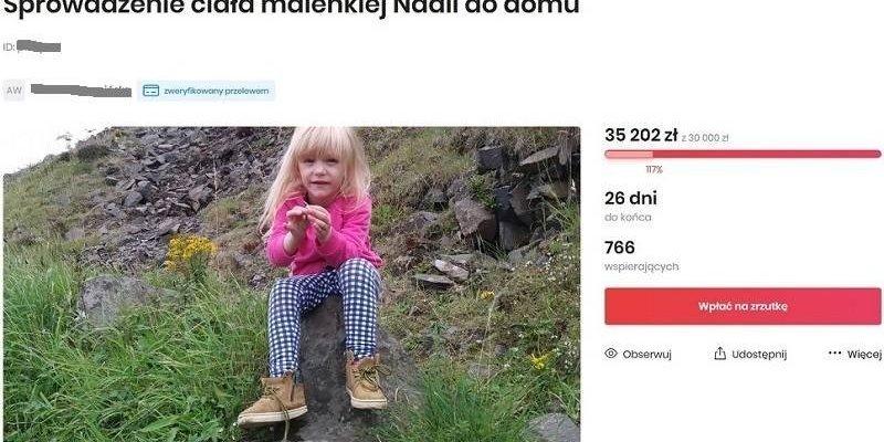 Babcia zmarłej dziewczynki chce sprowadzić ciało do Polski